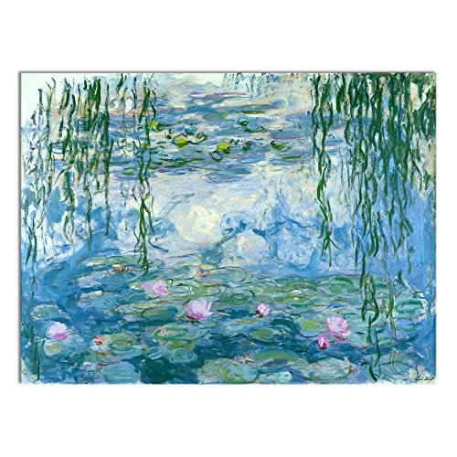 Wieco Art Water Lilies Floral Canvas Prints Wall Art by Claude Monet Famous Oil Paintings Flowers Reproduction for Kitchen Bedroom Bathroom Home Decor Modern Classic Landscape Pictures Giclee Artwork (Painting Oil Classic Landscape)