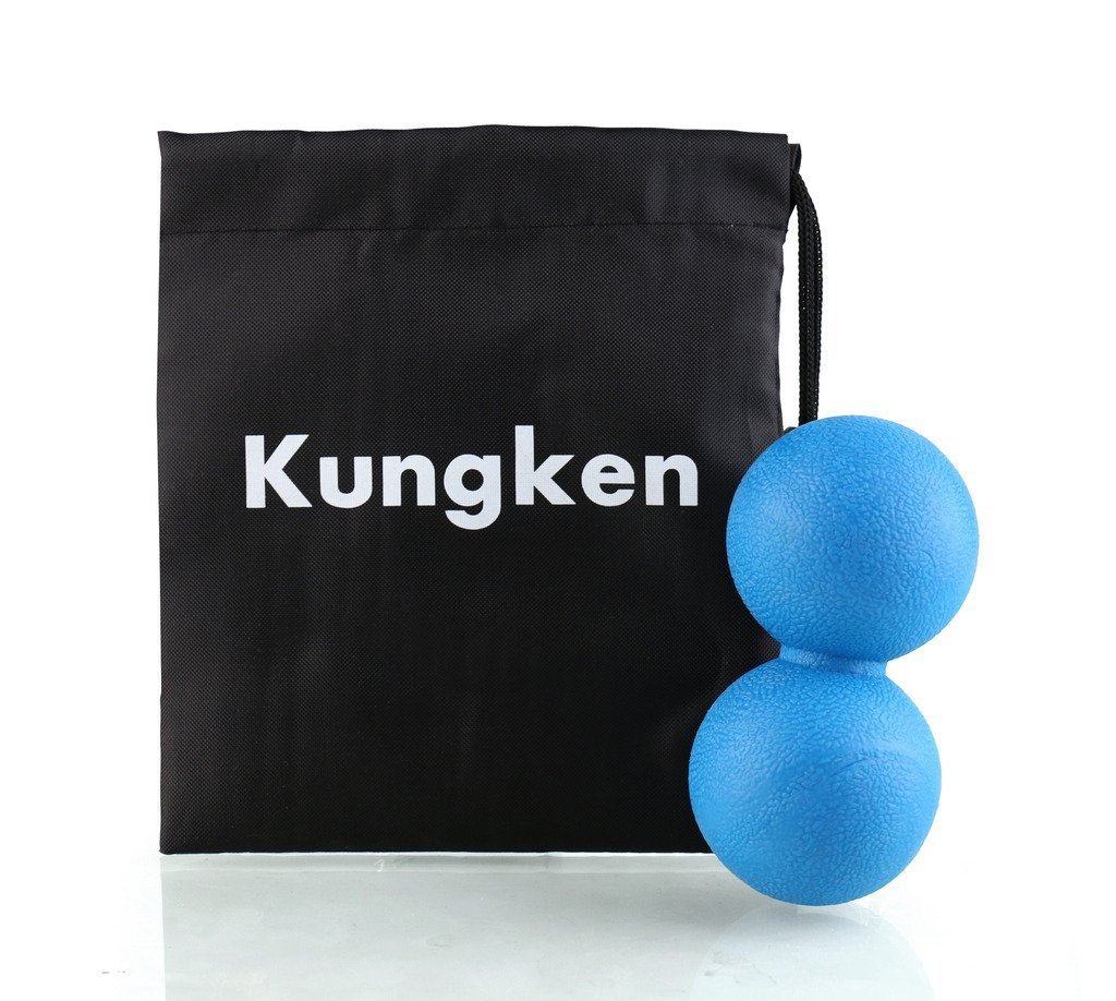 Kungken Double Lacrosse Ball Mobility Myofascial Trigger Point Release Peanut Ball Accelerate Recovery From WODs Crossfit Bodybuilding Injuries Blue