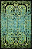 Colorful Rugs Luxury Modern Vintage Inspired Overdyed Area Rugs Aquamarine 2' x 3' FT Artis Designer Rug Colorful Craft Rugs and Carpet