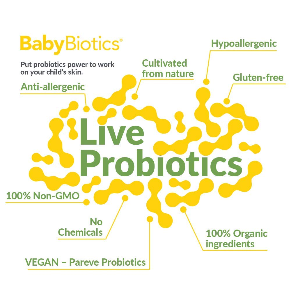 BabyBiotics - Topical Probiotic Body Care for CHILDREN of ALL AGES 4oz -Hypoallergenic, Vegan, Non GMO, GF, 100% Natural Live Probiotic Patented, External + Internal Use,Totally Safe, No Refrigeration