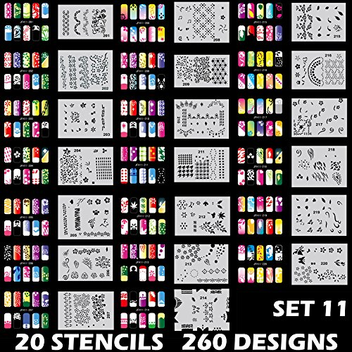 (Custom Body Art Airbrush Nail Stencils - Design Series Set # 11 Includes 20 Individual Nail Templates with 13 Designs each for a total of 260 Designs of Series #11)