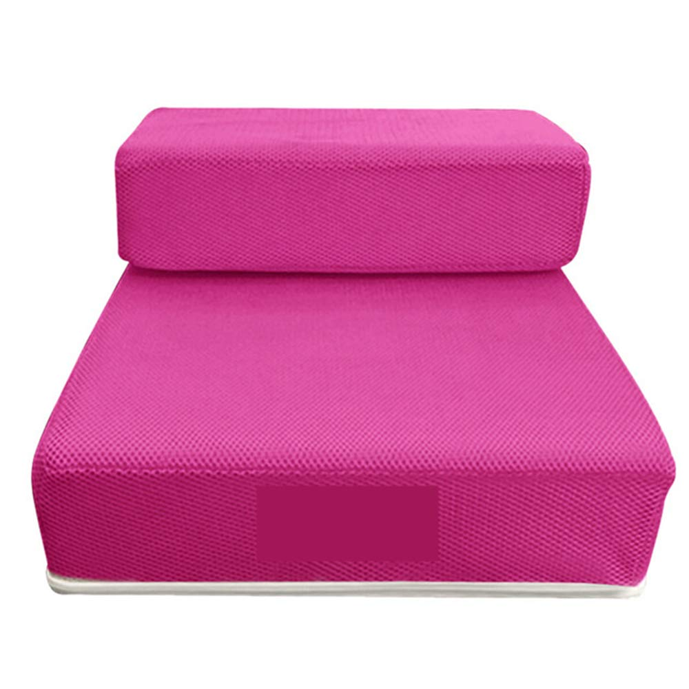 BOOB Pet Stairs Breathable Mesh Foldable Pet Stairs Detachable Dog Bed Stairs Dog Ramp 2 Steps Ladder for Small Dogs Puppy Cat Bed