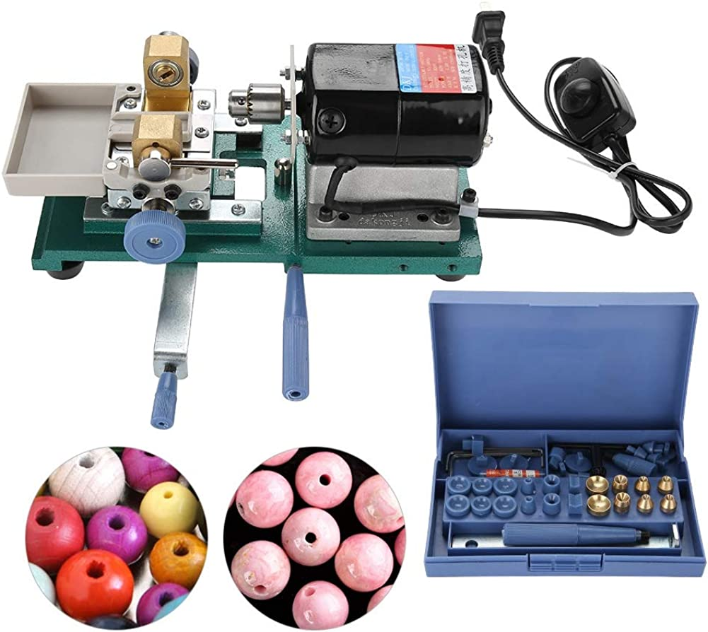Image of Beading & Jewelry Making 110V Pearl Drilling Holing Full Set, Pearl Drilling Machine Stepless Jewelry Bead Hole Driller Jewel Tools, Holds Beads Securely for Precision Work