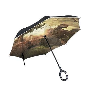 jstel doble capa puede gigante dinosaurio 3d paraguas coches Reverse resistente al viento lluvia paraguas para