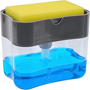 2-in-1 Sponge Rack Shelf Soap Detergent Dispenser Pump Large Capacity with Sponge 1 Hand Operation (A, 5.1X3.35X3.5 Inches)