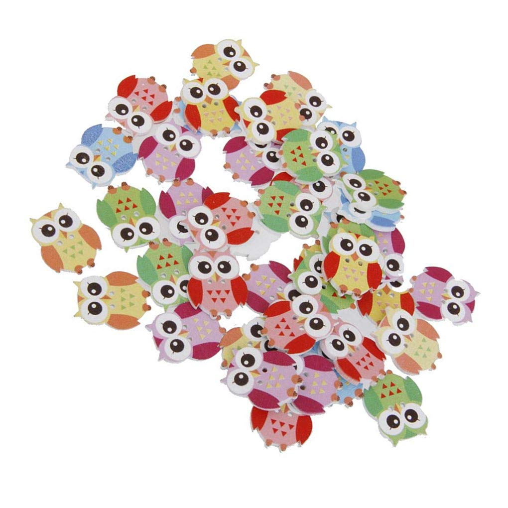 OmkuwlQ Color Random 50pcs Cartoon Wooden Chip Children Kid Clothes Button Decorations Eco-Friendly Ornament by OmkuwlQ (Image #5)