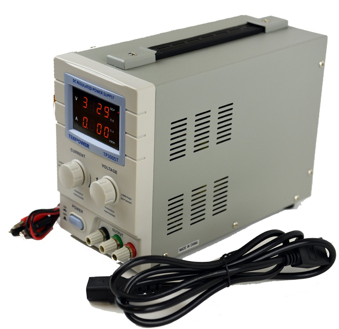 Tekpower Tp3005t Variable Linear Dc Power Supply 0 30v 5a With Symmetrical Regulated And To 2a Alligator Test Leads Industrial Scientific