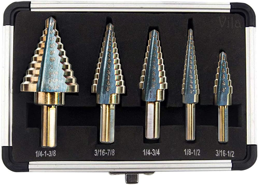 Aluminum Case Included for Laminates Multiple Hole Sizes Plywood Vila 5-Pieces High Speed Steel Drill Set Thin Metal Triangle-Shaped with Round Handle Plastics Acrylic