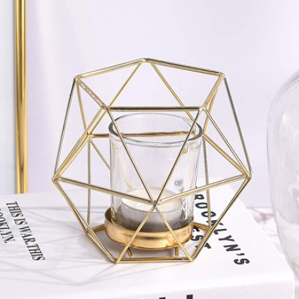 Industrial Iron Wire 3D Geometric Glass Tealight Candleholder Wedding Party Gold