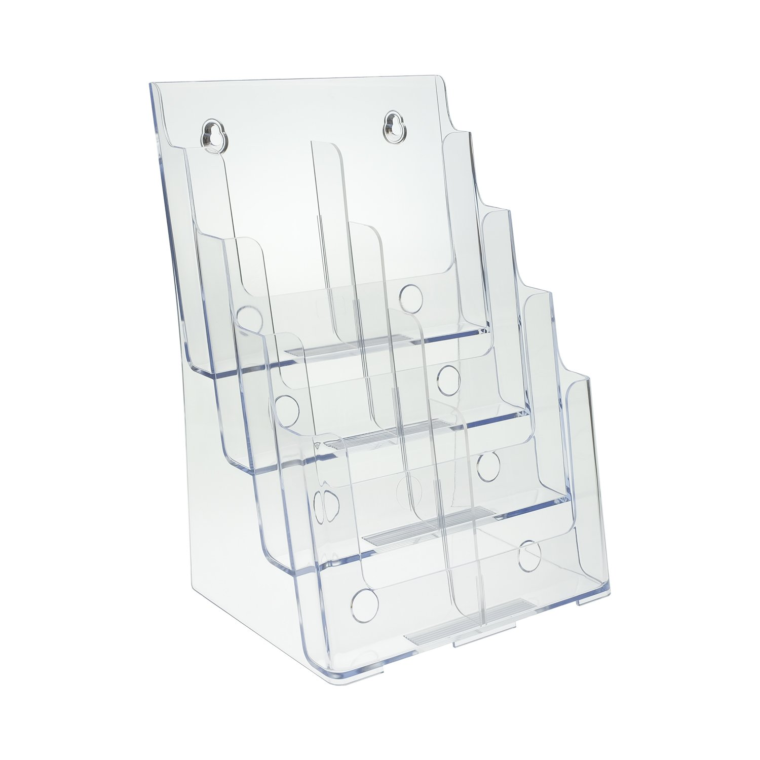 SourceOne Premium 4-Tier Magazine and Brochure Holder – Clear Acrylic Countertop Organizer