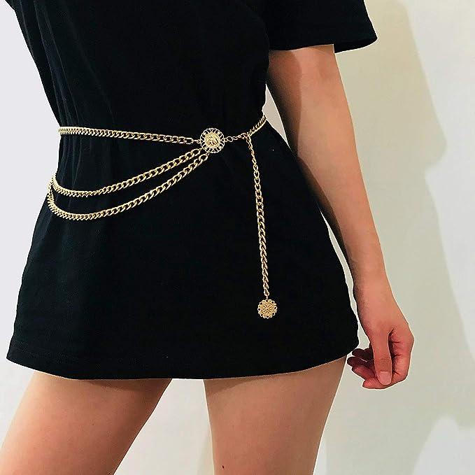 A History of Belts 1920-1960 Glamorstar Multilayer Metal Waist Chain Dress Belts Metal Belt for Women $12.99 AT vintagedancer.com