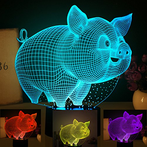 3D Abstract Animal Pig Lamp Creative Night Light 7 Color Change LED Table Desk Lamp Acrylic Flat ABS Base USB Charger Home Decoration Toy Brithday Xmas Kid Children Gift by FXUS