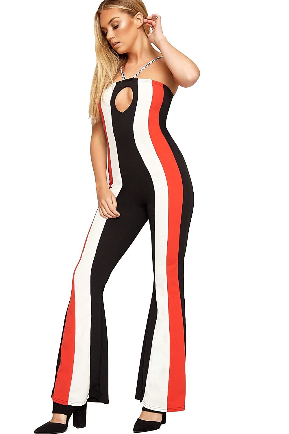 c5a53efd423d WearAll Women s Strappy Striped Print Sleeveless Keyhole Flared Wide Leg  Ladies Jumpsuit 6-14  Amazon.co.uk  Clothing