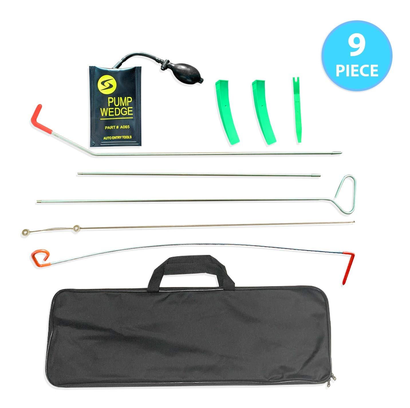 Long Reach Grabber Non-Marring Wedges Air Pump Bag with Carrying Case Essential Car Tool kit