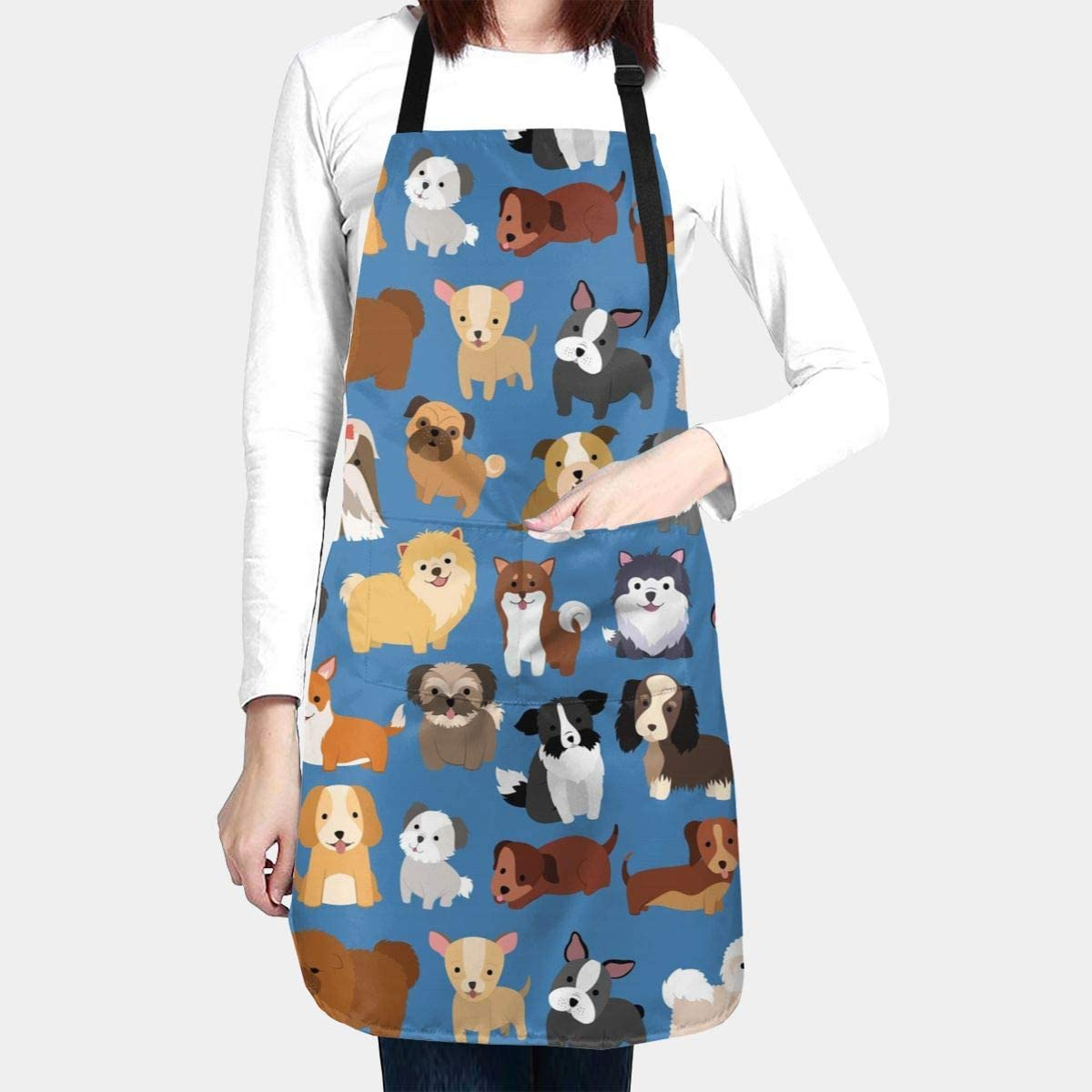 Duduho Cute Dogs Pets Apron with 2 Pockets Cooking Kitchen Bib Aprons for Women Men Unisex Adjustable Waterproof Stain Resistant