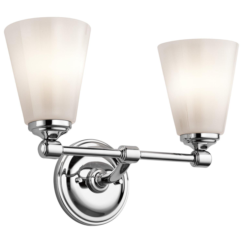 Kichler Lighting 45518 CH Ashbrook 2lt化粧台器具、クローム仕上げwithホワイトCasedオパールガラスシェード B00HFR01HI