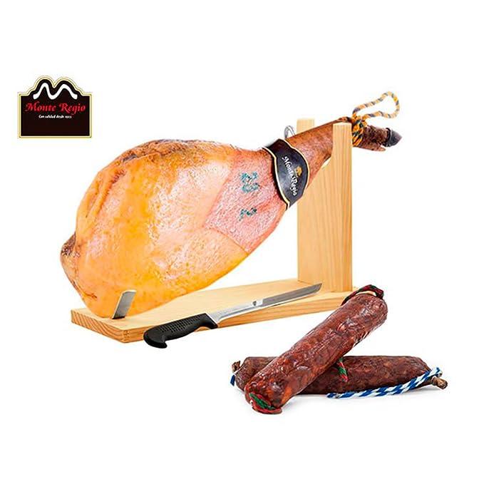 Paleta de Jamón Serrana con Chorizo y Salchichón Ibéricos más Jamonero, cuchillo y chaira