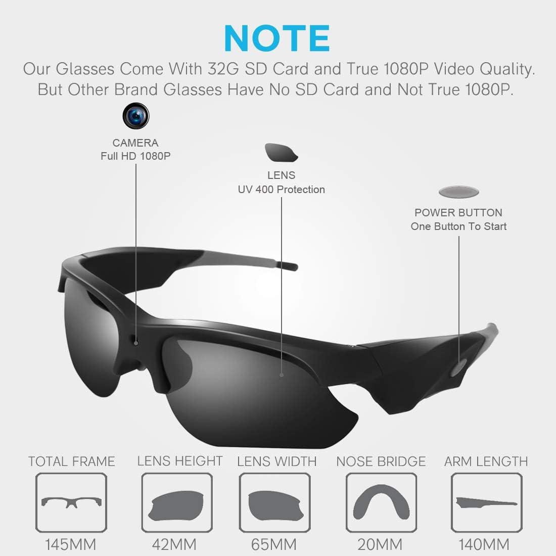 Security Glasses Camera 32GB Vimel Sunglasses Action Recorder HD 1080P