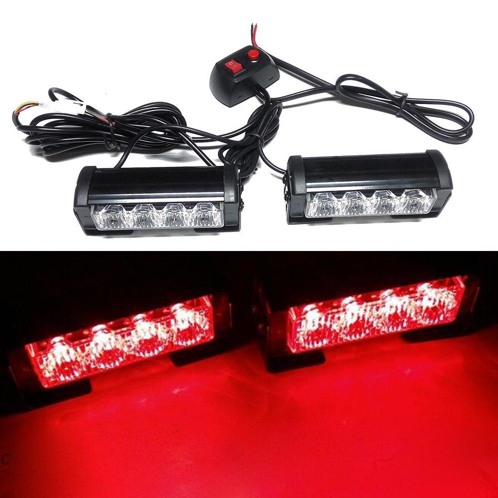 Viktion 8W 2*4 LEDs Feux de Pénétration Lumière Stroboscopique Eclairage Clignotant à 7 Modes pour Voiture Camion Véhicule SUV Lampe pour Avertissement Urgence Secours Travaux DC12V (Rouge)