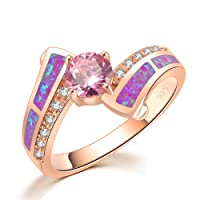 CiNily Created Pink Fire Opal Pink Topaz Zircon Rose Gold Plated Women Jewelry Gemstone Ring Size 5-13