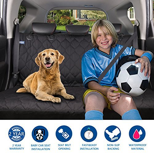 Acrabros Universal Fit Nonslip, Waterproof, Padded, Quilted, Convertible Hammock Dog Car Seat Covers with Extra Side Flaps, Black