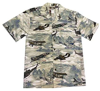 2fbe9bc7 Kalaheo Men's Vietnam Aircraft Aloha Shirt, Green, XX-Large at ...