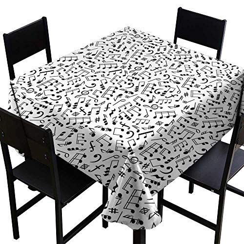 StarsART Rectangle tablecloths Black and White,Musical Composition with Notes Quavers Chords Treble Clefs Sheet Elements,Black White D60,Tablecloths ()