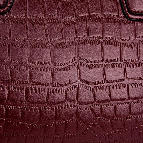 Zippé Sangle noir Main Motif de Femme Sac Sac de noir en Réglable Pour avec Dopobo à Bandoulière Porté Cuir Crocodile épaule d0qB4dw