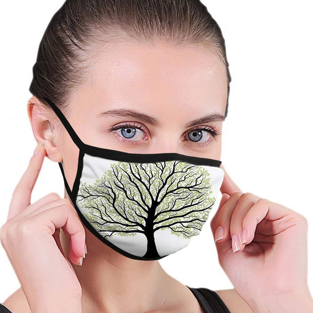 P PIPIGOU Adjustable Cover Fashion Masks Decoration,Tree of Life,Big OldTree with Lot of Leaves and Branches Nature Growth Eco Art,White Black,