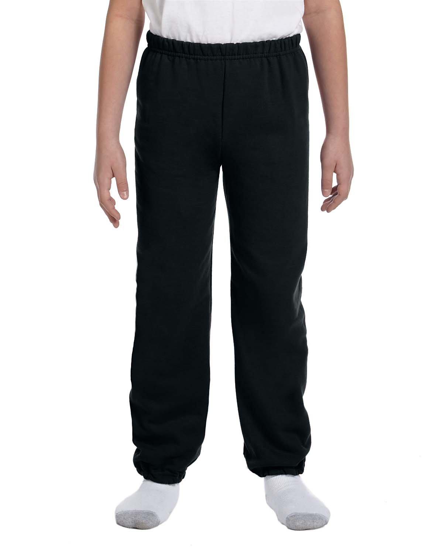 Gildan Boys 7.75 oz. Heavy Blend? 50/50 Sweatpants (G182B) -BLACK -L-12PK