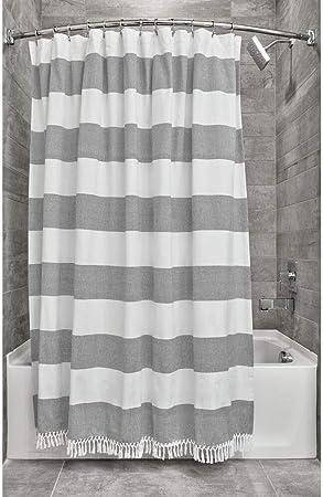 iDesign Ducha a Rayas, Preciosa Cortina de baño x 183,0 cm de algodón y poliéster, Blanco/Gris Oscuro: Amazon.es: Hogar