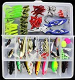 Fishinghappy 101PCS Fishing Lure Set Kit Box Freshwater Saltwater Soft and Hard Lure Baits Fishing Pliers Popper Crankbaits Rattlin Minnow VIB Lure Hard Spoon Metal Lures Trout Bass Salmon