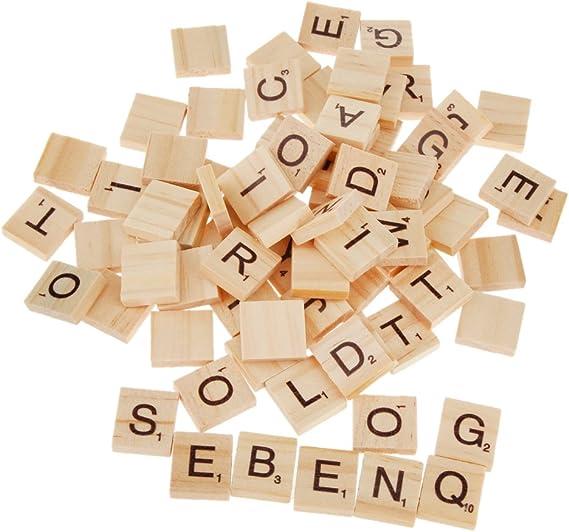 100pcs Juguetes Juegos Artesanía Alfabeto Scrabble Azulejos Letras Negras Y Números 20*18*5MM: Amazon.es: Hogar