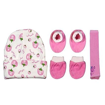 f3ca1f3cd BRIM HUGS & CUDDLES Soft Winter Baby Cap,towel,booties and Mitten Thermal  Set for Newborn Baby