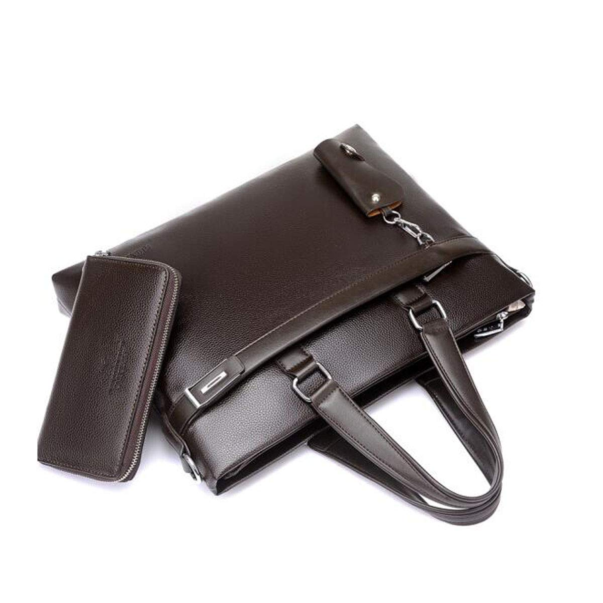 Brown Size: 41730cm Rest Assured Hongyuantongxun Briefcase Mens Business Casual Shoulder Bag Color : Brown Black