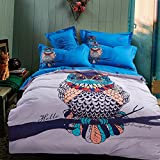 Auvoau Owl Pattern White Blue Kids Boys Girls Duvet Covet Bedding Sets (Queen, 4pc without comforter)