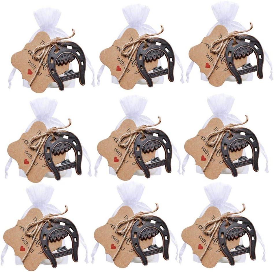 Awtlife - Abridor de herraduras de la Suerte de Hierro Fundido, 25 Unidades, con Tarjeta, Bolsa Transparente para Regalos de Boda Vintage, decoración de Fiesta