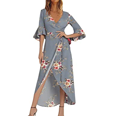 Briskorry Vestido Estampado Pijamas con Escote en V Cóctel Fiesta ...