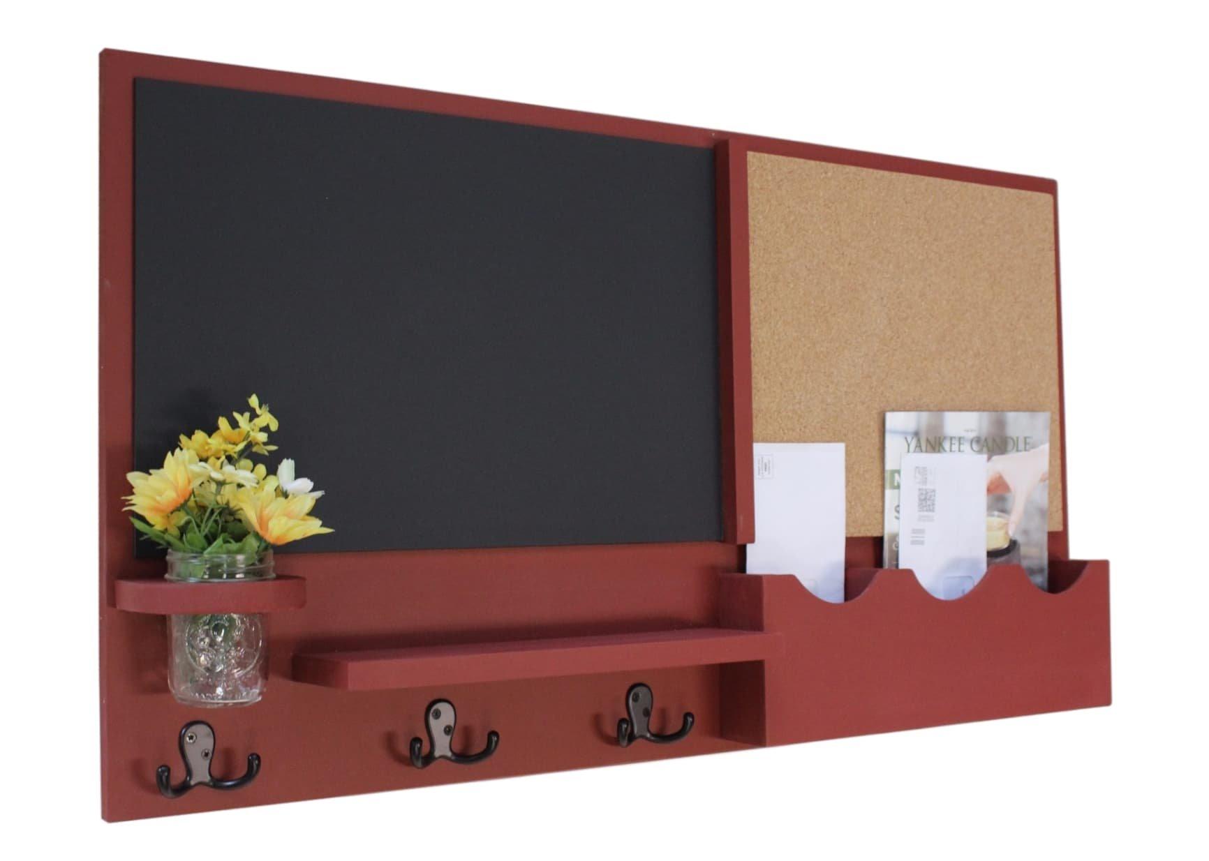 Legacy Studio Décor Message Center with Chalkboard Cork Board Mail Organizer Key Hooks Coat Hooks Mason Jar (Smooth, Barn Red)