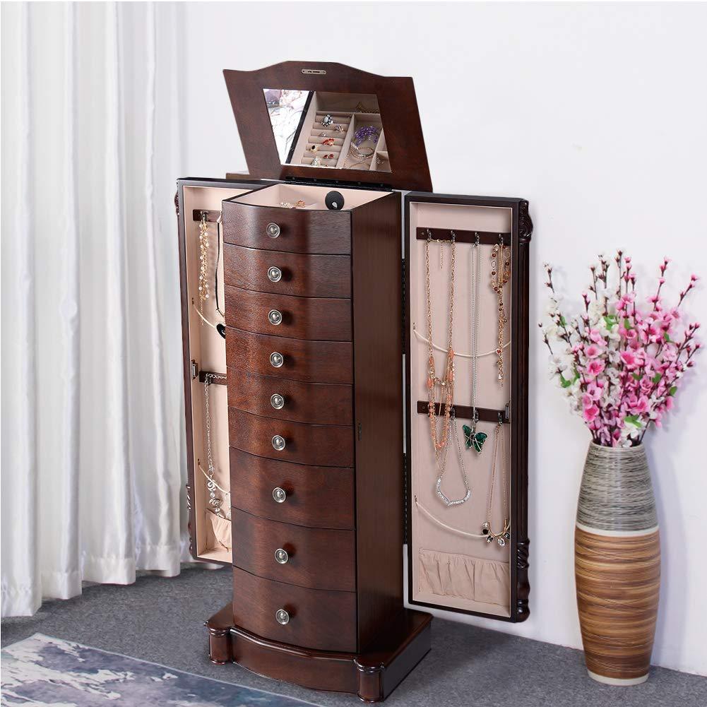 GentleShower Jewelry Cabinet with Mirror Jewellery Box Organizer Wooden Jewelry Storage Armoire Hanging 8 Drawer
