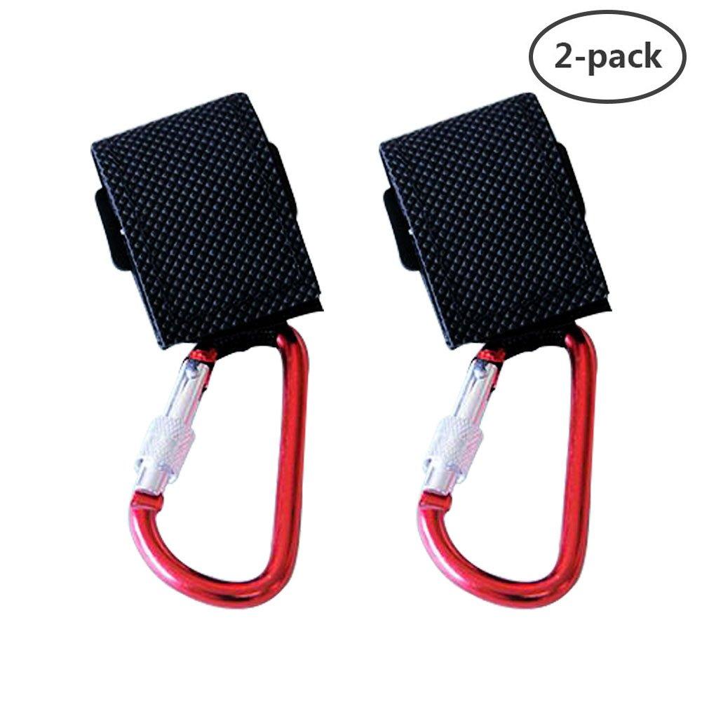 Stroller Hook, Yuccer 2 Pack Shopping Bag Holder for Stroller Non-Slip Durable Mommy Hook for Purse or Diaper Bags (Black)