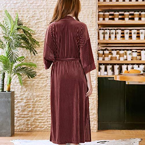 autunno accappatoio JYCRA donna Pigiama Poliestere Caramel White vestaglia velluto abbigliamento da x notte da Thin pigiama Color large wnxS0SrqY