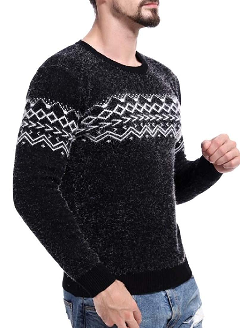 XQS Men Casual Knit Pullover Long Sleeve Slim Fit Pattern Crewneck Sweaters