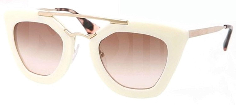 ac9dc3e40c Miu Miu Prada Women s White Oval Sunglasses SPR09Q  Amazon.co.uk  Clothing