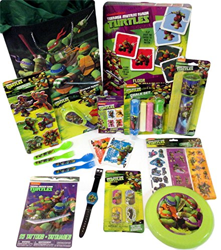 TMNT 12 Piece Birthday, Holiday, or Get Well Gift Tote Bag Bundle Features Teenage Mutant Ninja Turtles Toys and Games for Boys Ages 3-6
