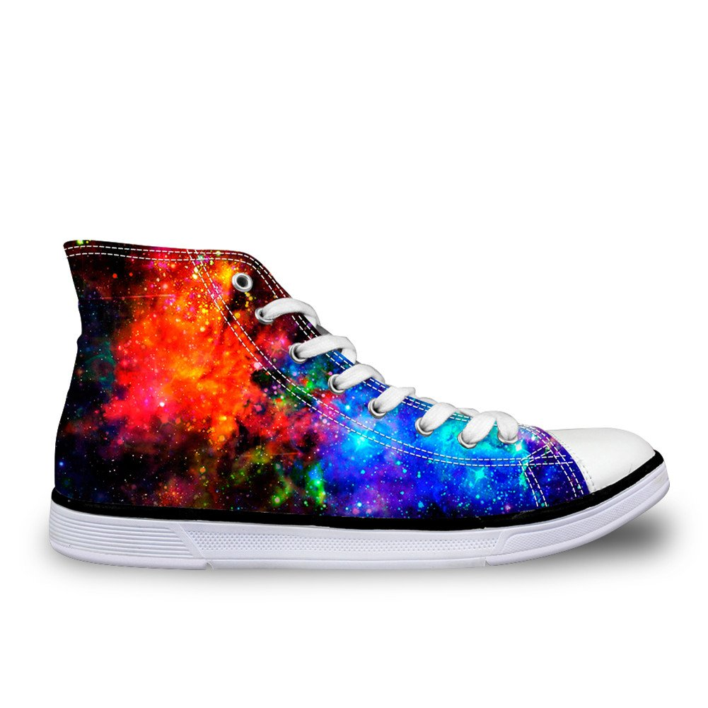 CHAQLIN Casual High Top Unisex Canvas Shoes Sneaker With Galaxy Printed for Women Mens US 12 B(M)=EUR 45 C0163ak