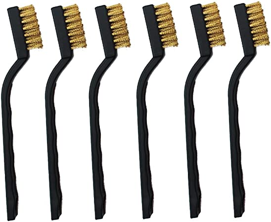 LIFETORE 10 PCS Mini Brass Wire Brush Set,Wire Bristle Scratch Brush Set for Cleaning Welding Slag and Rust