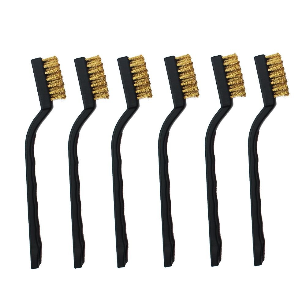 6 Pieces Mini Brass Wire Brush Set for Cleaning Welding Slag and Rust