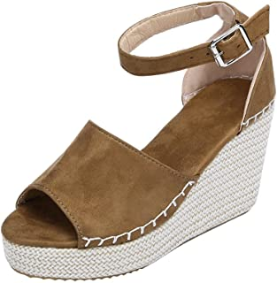 Femme Chaussures,Mode féminine Cousue à la Coudre Peep Toe compensée Hasp Sandales Chaussures Flatform,Escarpins Mode féminine Cousue à la Coudre Peep Toe compensée Hasp Sandales Chaussures Flatform K190104C1663