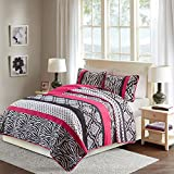 Comfort Spaces - Sally Mini Quilt Coverlet Set - 2 Piece - Hot pink, Black - Printed Zebra, Damask, Polka dots Pattern - Twin / Twin XL size, includes 1 Quilt, 1 Sham